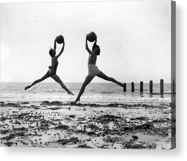 Worthing Acrylic Print featuring the photograph Beach Dancers by Fox Photos