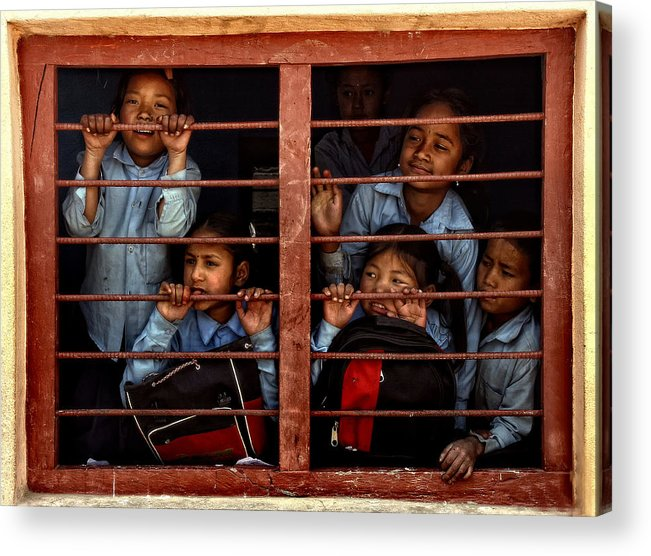 Nepal Acrylic Print featuring the photograph Children Of Nepal - Series by Yvette Depaepe