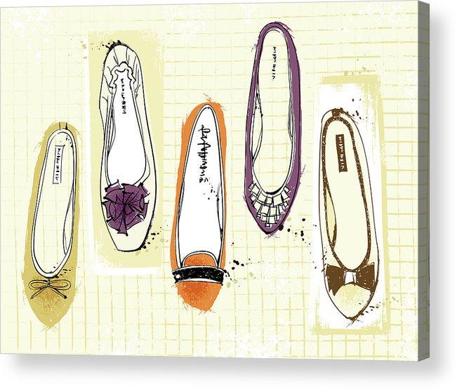 Purple Acrylic Print featuring the digital art Feminine Shoes by Eastnine Inc.