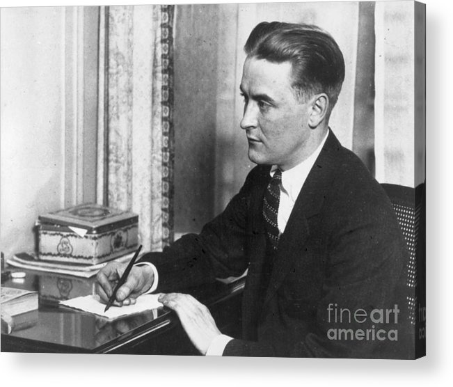 People Acrylic Print featuring the photograph F.scott Fitzgerald Writing At Desk by Bettmann