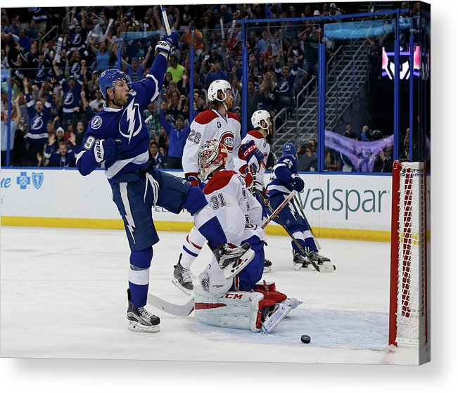 Playoffs Acrylic Print featuring the photograph Montreal Canadiens V Tampa Bay by Mike Carlson