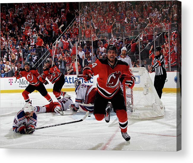 Playoffs Acrylic Print featuring the photograph New York Rangers V New Jersey Devils - by Bruce Bennett
