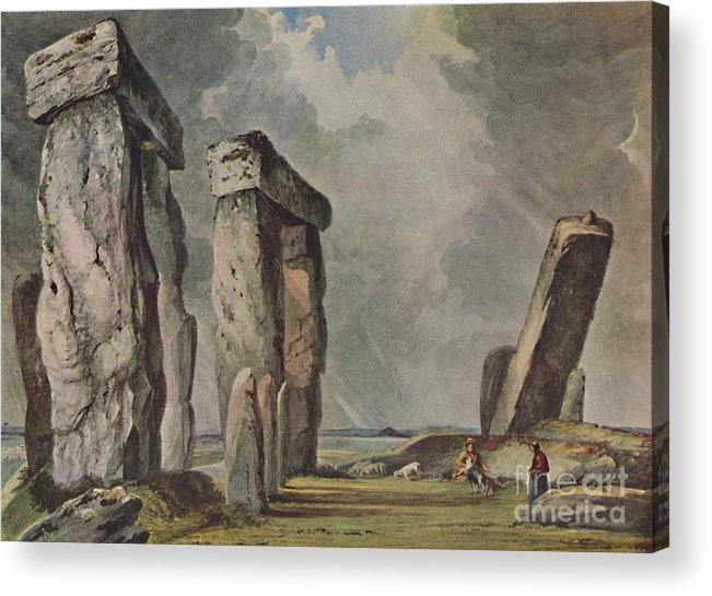 Unesco Acrylic Print featuring the drawing Stonehenge by Print Collector