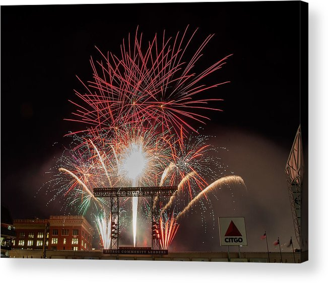 Firework Display Acrylic Print featuring the photograph Chicago White Sox V Houston Astros by Bob Levey