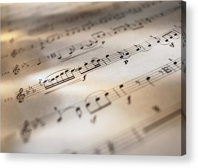 Sheet Music Acrylic Print featuring the photograph Detail Of Sheet Music by Ryan Mcvay