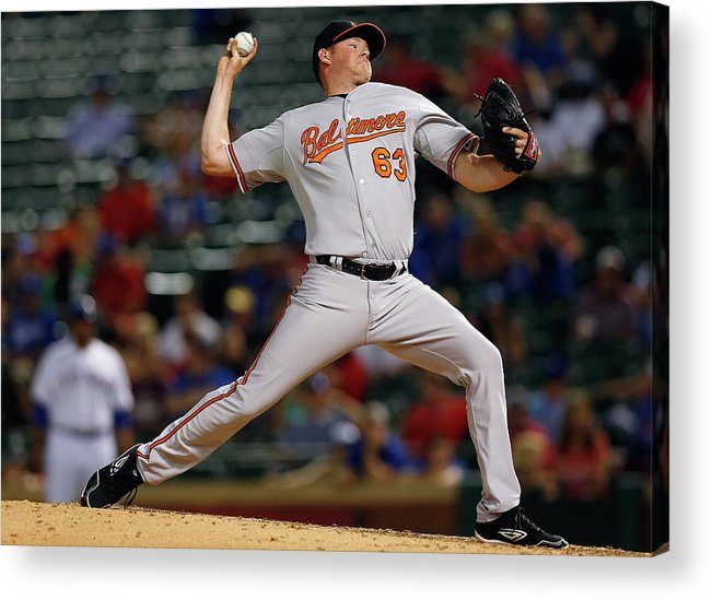 Ninth Inning Acrylic Print featuring the photograph Baltimore Orioles V Texas Rangers by Tom Pennington