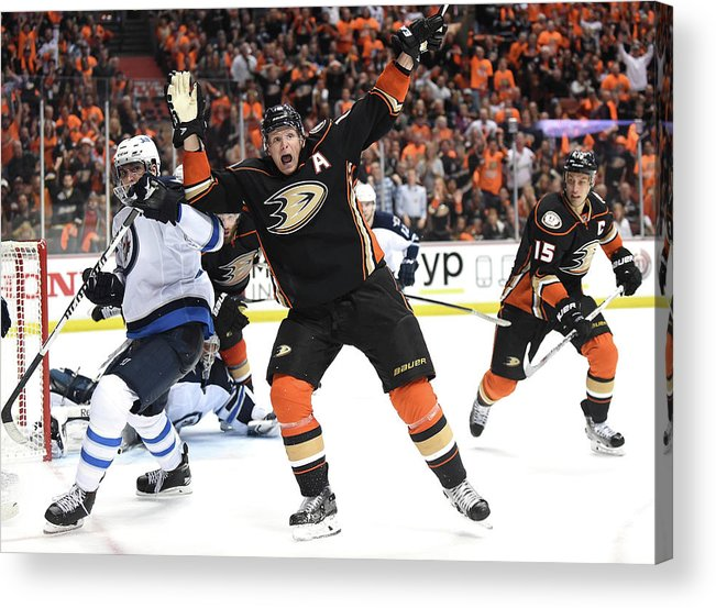 Playoffs Acrylic Print featuring the photograph Winnipeg Jets V Anaheim Ducks - Game One by Harry How