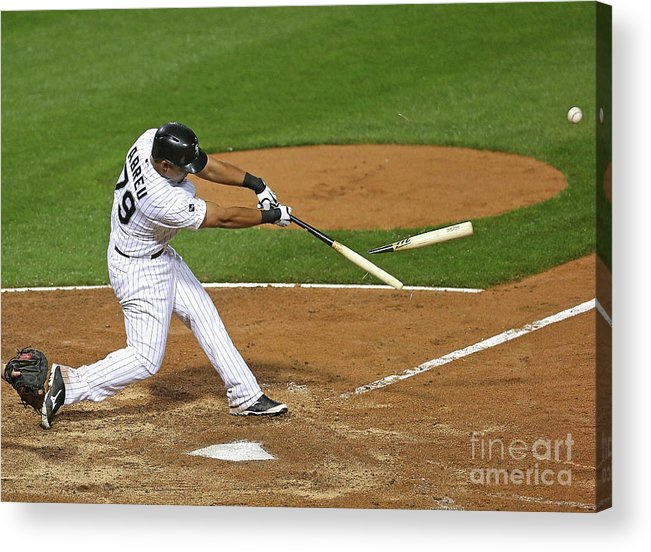 American League Baseball Acrylic Print featuring the photograph Los Angeles Angels Of Anaheim V Chicago by Jonathan Daniel