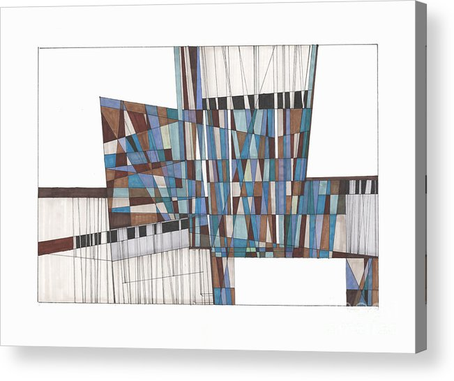 Abstract Acrylic Print featuring the drawing Abstract 45 by Rickie Jacobs