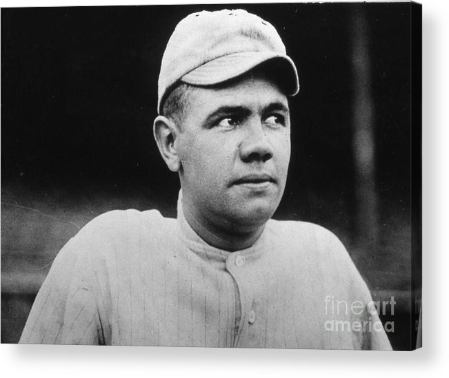 People Acrylic Print featuring the photograph Babe Ruth Portrait Boston 1916 by Transcendental Graphics