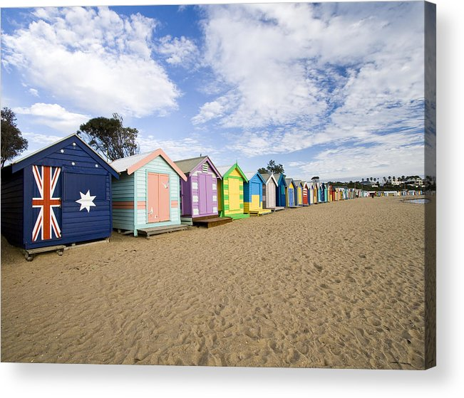Steps Acrylic Print featuring the photograph Brighton Beach Huts by Samvaltenbergs