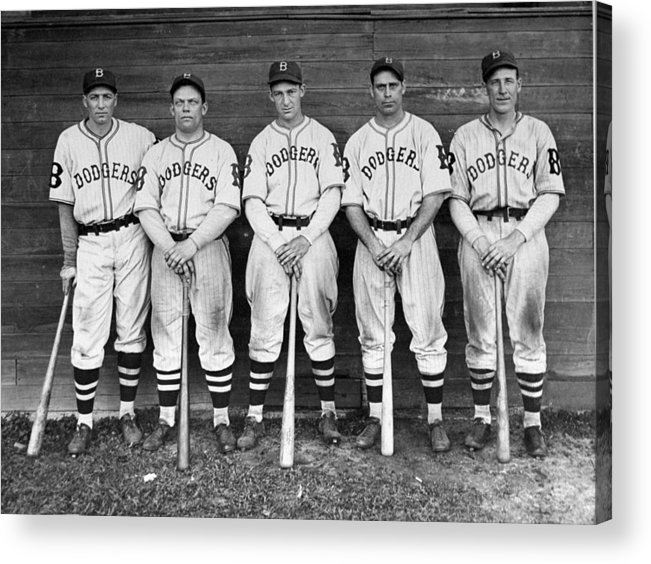 1930-1939 Acrylic Print featuring the photograph Brooklyn Dodgers Outfielders L. To R by New York Daily News Archive
