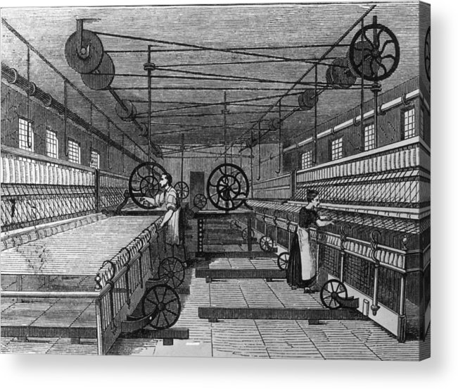 Spinning Wheel Acrylic Print featuring the digital art Cotton Mill by Hulton Archive