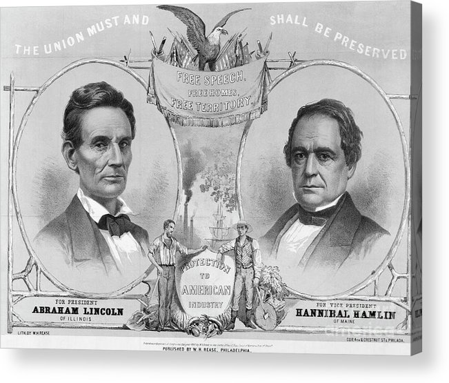 Art Acrylic Print featuring the photograph Election Poster With Abraham Lincoln by Bettmann