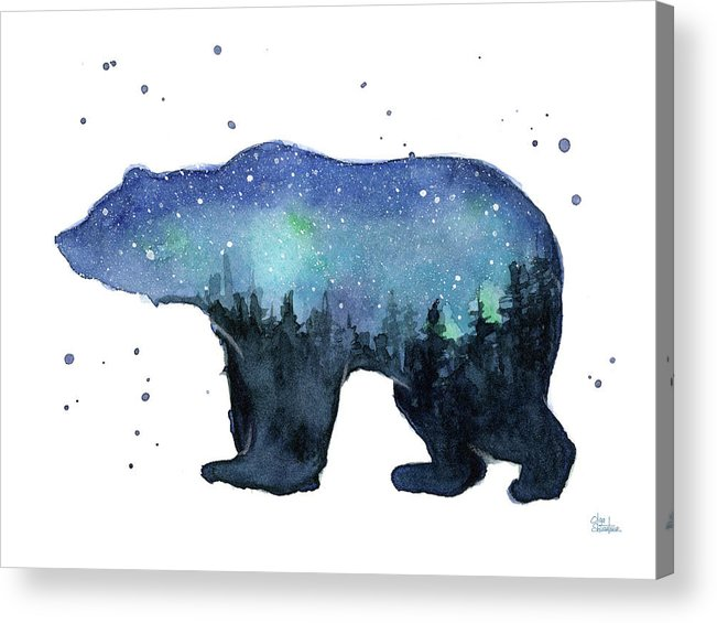 Galaxy Acrylic Print featuring the painting Forest Bear Watercolor Galaxy by Olga Shvartsur