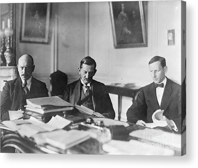 Versailles Acrylic Print featuring the photograph German Envoy Going Over Documents by Bettmann