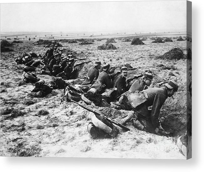 Rifle Acrylic Print featuring the photograph German Soldiers With Rifles by Bettmann