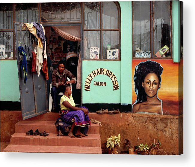 Working Acrylic Print featuring the photograph Hairdresser Working On The Steps Of Her by Harry Hook