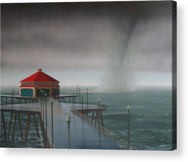 Huntington Beach Acrylic Print featuring the painting Huntington Beach Pier waterspout by Philip Fleischer