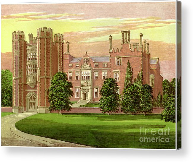 Engraving Acrylic Print featuring the drawing Kirtling Tower, Cambridgeshire, Home by Print Collector