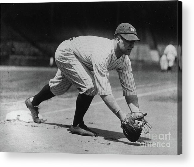 People Acrylic Print featuring the photograph Lou Gehrig At First by Transcendental Graphics
