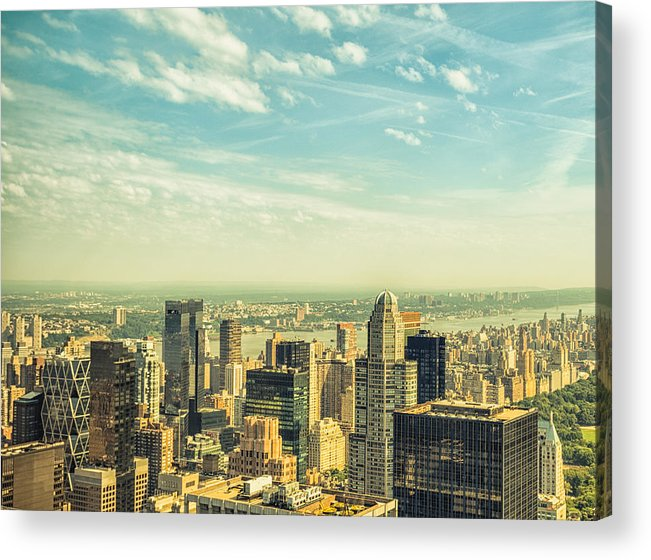 Lower Manhattan Acrylic Print featuring the photograph New York City Skyline With Central Park by Franckreporter