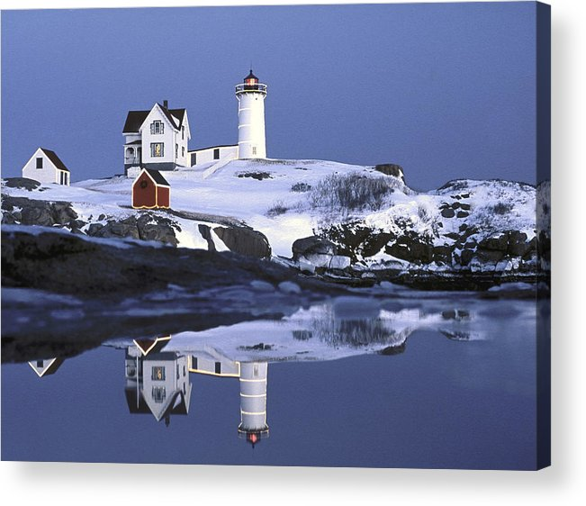 Tranquility Acrylic Print featuring the photograph Nubble At Christmas Time In New England by Robert Ginn