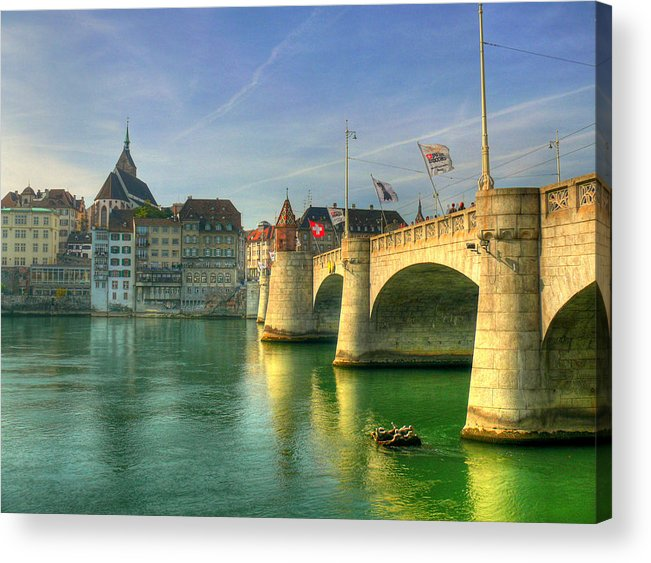 Outdoors Acrylic Print featuring the photograph Rhine Bridge In Basel by Richard Fairless