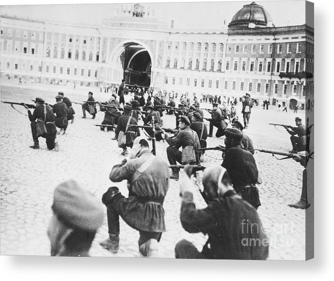 Rifle Acrylic Print featuring the photograph Russian Soldiers Firing Rifles by Bettmann