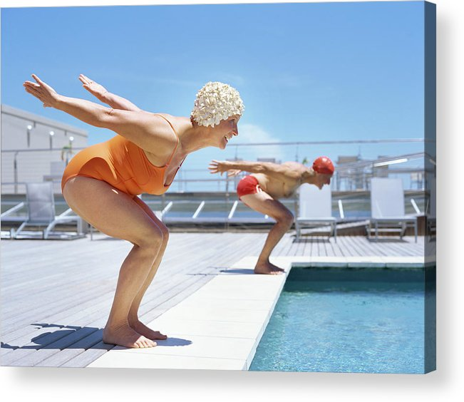 Diving Into Water Acrylic Print featuring the photograph Senior Couple Ready To Dive In To by Stockbyte