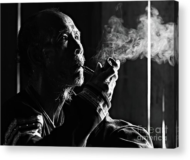 Asian And Indian Ethnicities Acrylic Print featuring the photograph Senior Man Smoking Pipe, Vietnam by Tran Anh Linh