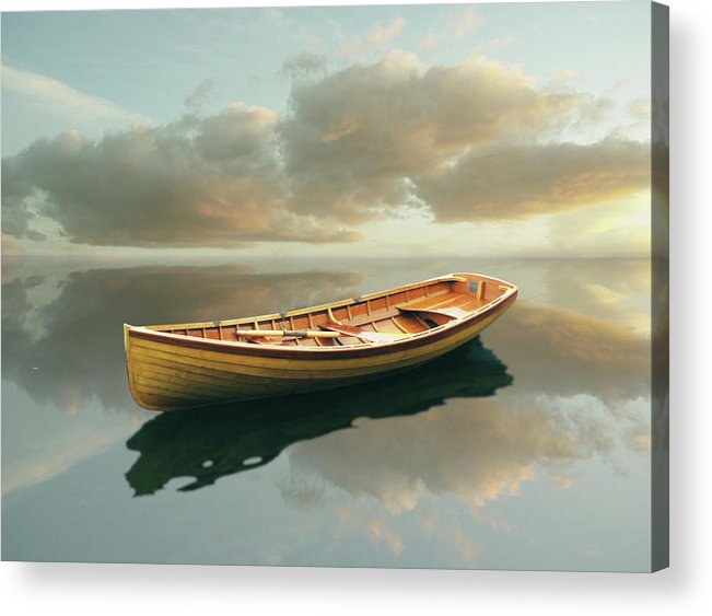 Canoe Acrylic Print featuring the painting Time Out 13 by Carlos Casamayor