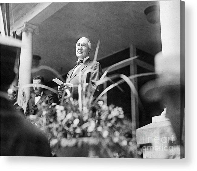 People Acrylic Print featuring the photograph Warren Harding Giving Speech by Bettmann