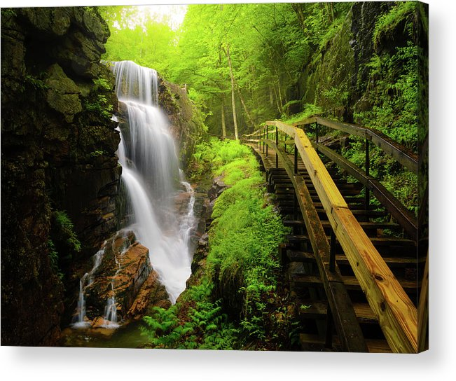 Steps Acrylic Print featuring the photograph Water Falls In The Flume by Noppawat Tom Charoensinphon