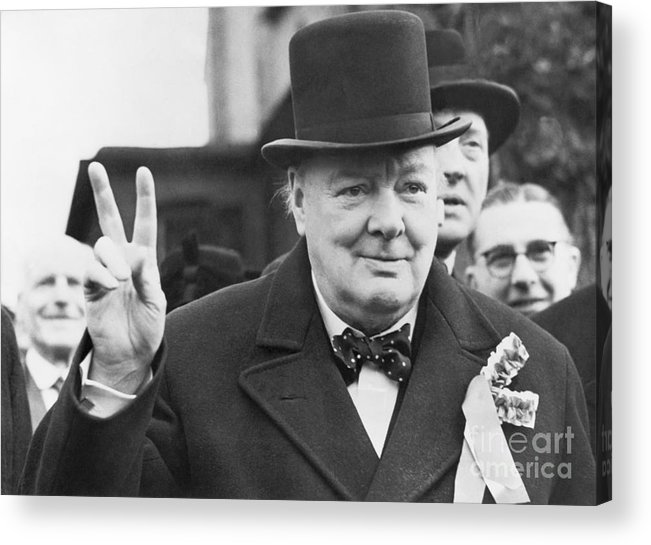 Polling Place Acrylic Print featuring the photograph Winston Churchill Gives Victory Sign by Bettmann