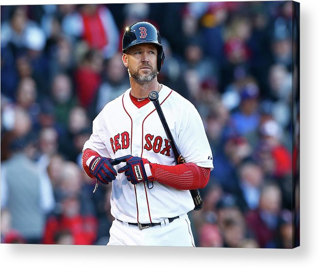 American League Baseball Acrylic Print featuring the photograph David Ross by Jared Wickerham