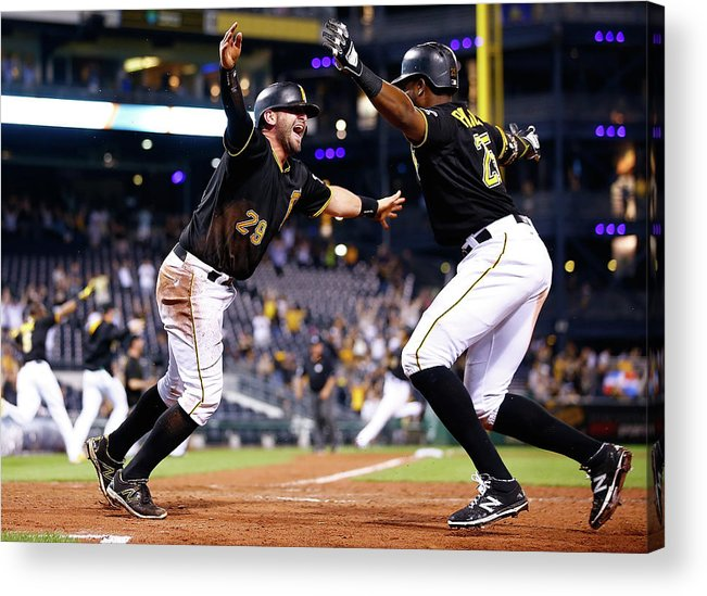 People Acrylic Print featuring the photograph Francisco Cervelli and Gregory Polanco by Jared Wickerham