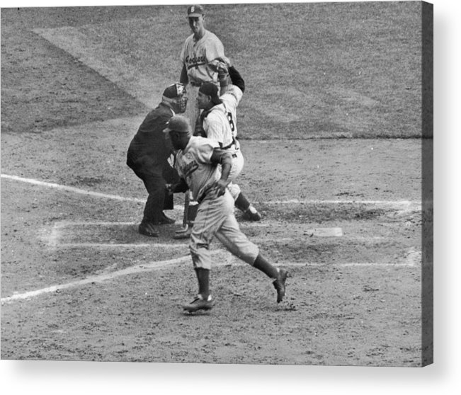 People Acrylic Print featuring the photograph Jackie Robinson and Yogi Berra by Hulton Archive