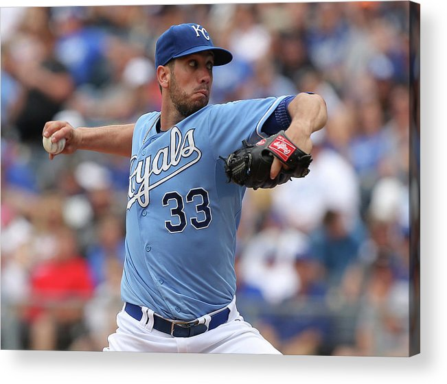 American League Baseball Acrylic Print featuring the photograph James Shields by Ed Zurga