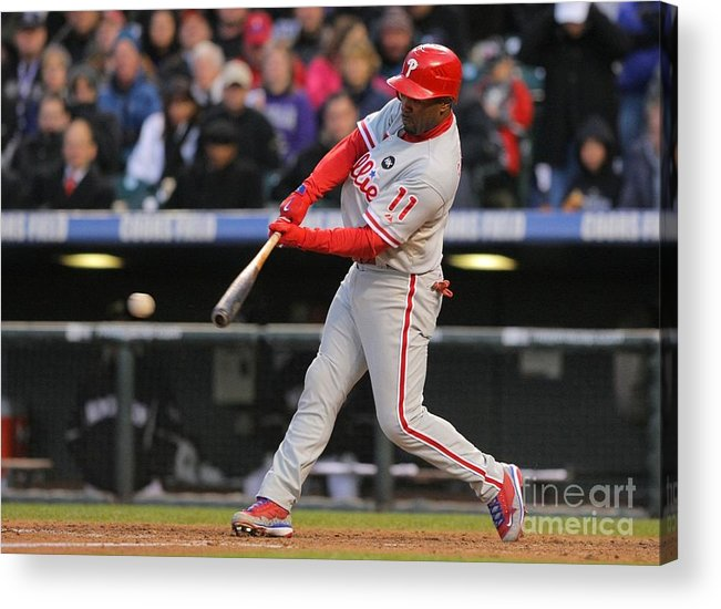 Playoffs Acrylic Print featuring the photograph Jimmy Rollins by Doug Pensinger
