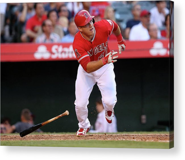 People Acrylic Print featuring the photograph Mike Trout by Stephen Dunn