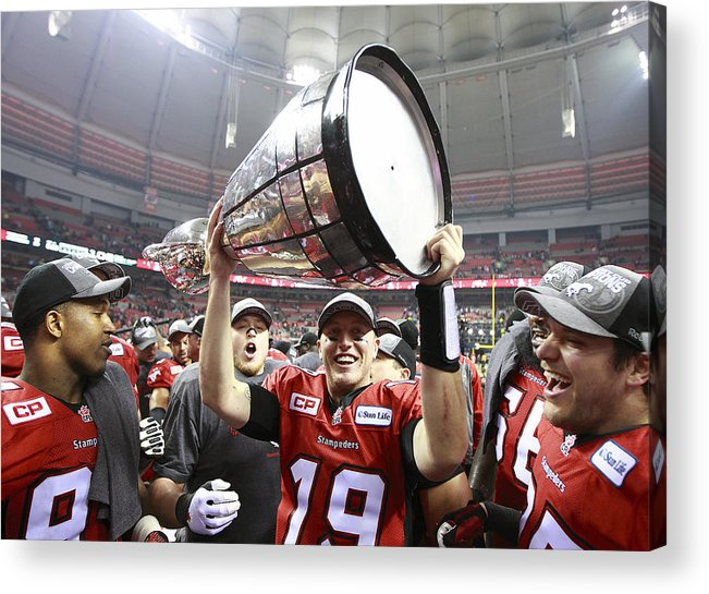 Hoisting Acrylic Print featuring the photograph 102nd Grey Cup Championship Game by Jeff Vinnick