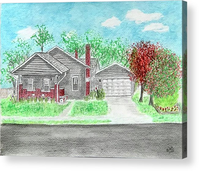Craftsman Bungalow Acrylic Print featuring the painting 1926 Craftsman Bungalow by Kathy Marrs Chandler