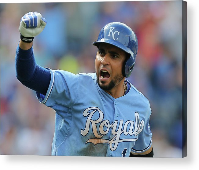 American League Baseball Acrylic Print featuring the photograph Omar Infante by Ed Zurga