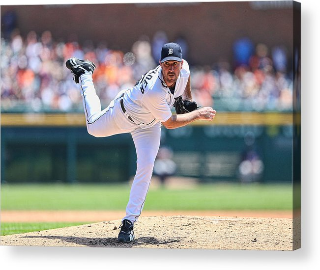 American League Baseball Acrylic Print featuring the photograph Justin Verlander by Leon Halip