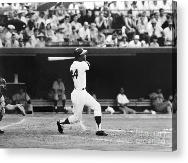 Sports Bat Acrylic Print featuring the photograph Hank Aaron by National Baseball Hall Of Fame Library