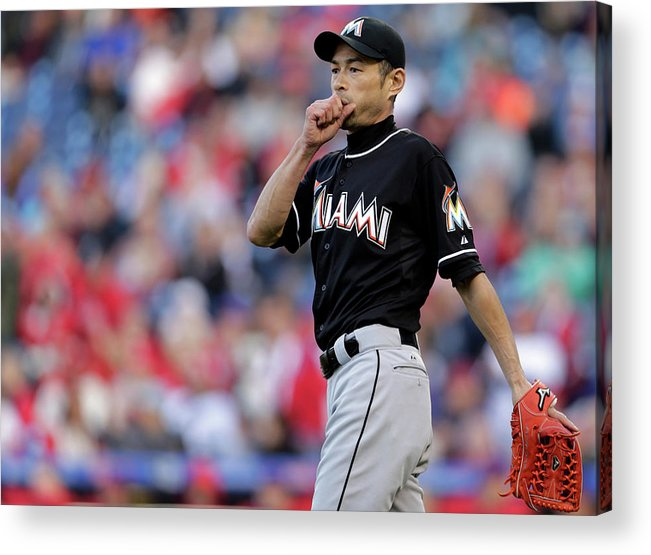 Three Quarter Length Acrylic Print featuring the photograph Ichiro Suzuki by Adam Hunger
