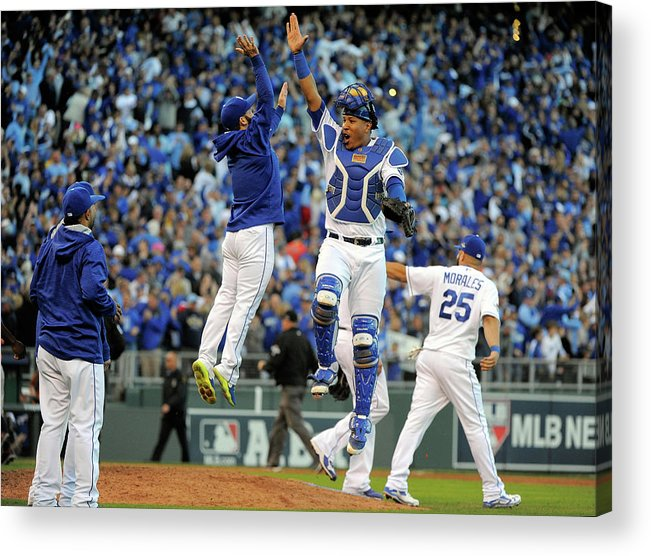 Game Two Acrylic Print featuring the photograph Salvador Perez by Ed Zurga