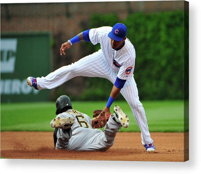 People Acrylic Print featuring the photograph Addison Russell and Starling Marte by David Banks