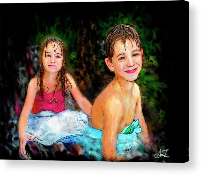 Portrait Acrylic Print featuring the digital art After- Swim by Arthur Fix